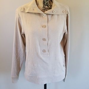 Banana Republic tan button front sweatshirt size M